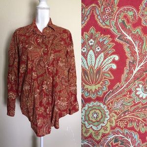 Red Paisley Button Down Blouse